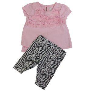 Koala Baby Pink Ruffle Bodysuit Zebra leggings